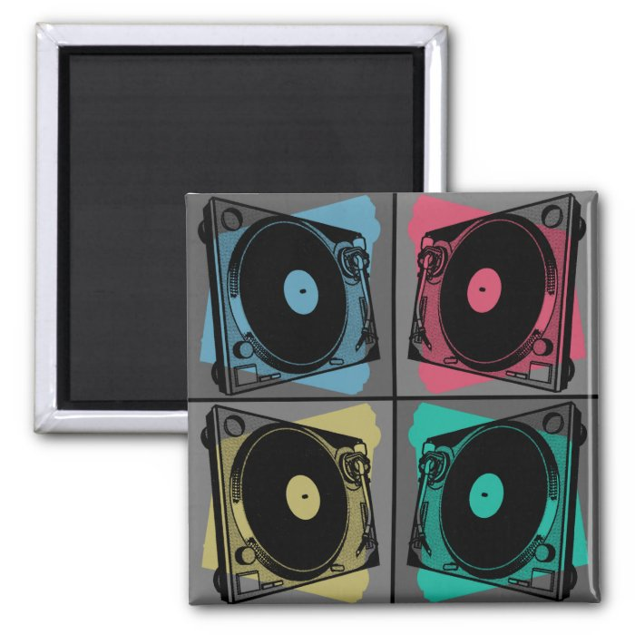 Four Turntables 2 Inch Square Magnet