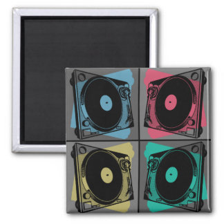 Four Turntables Graphic Magnet