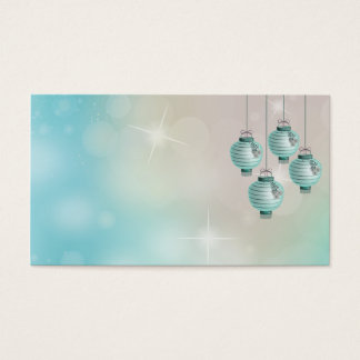 Four turquoise lanterns business card