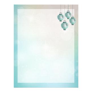 Four turquoise lanterns letterhead