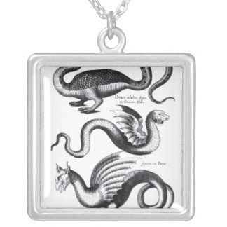 Four types of dragon silver plated necklace