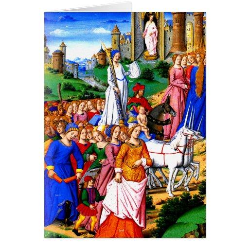 """Four Unicorns lead the Procession"" Greeting Card"