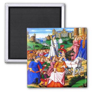 """Four Unicorns lead the Procession"" 2 Inch Square Magnet"