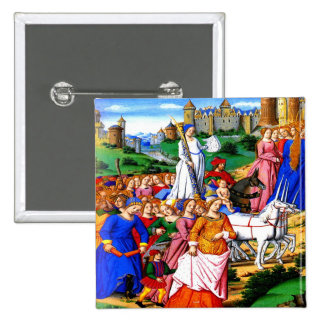"""Four Unicorns lead the Procession"" Pinback Button"