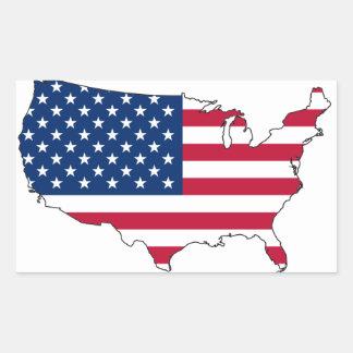 FOUR USA Flag Map Rectangular Sticker