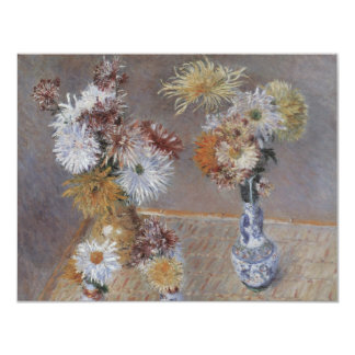 Four Vases of Chrysanthemums by Caillebotte 4.25x5.5 Paper Invitation Card
