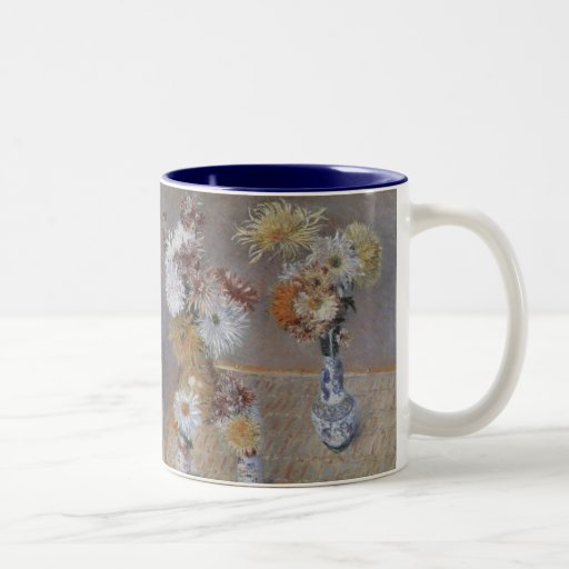 Four Vases of Chrysanthemums by Caillebotte Two-Tone Coffee Mug