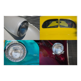 Four Vintage Cars Poster