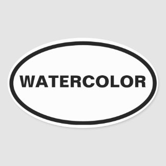 FOUR Watercolor Oval Sticker