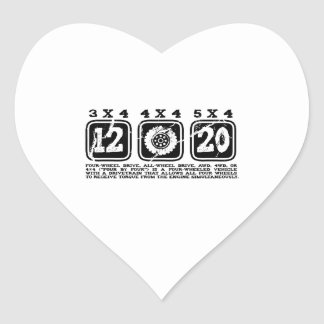 Four Wheel Drive or All Wheel Drive or AWD or 4WD Heart Sticker