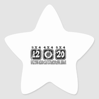 Four Wheel Drive or All Wheel Drive or AWD or 4WD Star Sticker