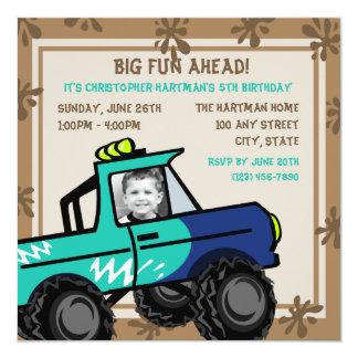 Four Wheel Fun/ Birthday 5.25x5.25 Square Paper Invitation Card