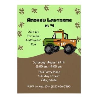 Four Wheel Truck Birthday Personalized Invites