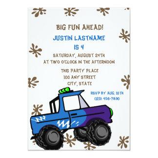 Four Wheel Truck Birthday 5x7 Paper Invitation Card