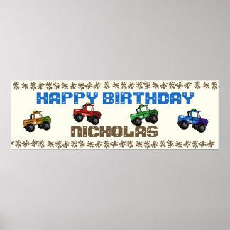 Four Wheeling Truck Birthday Sign