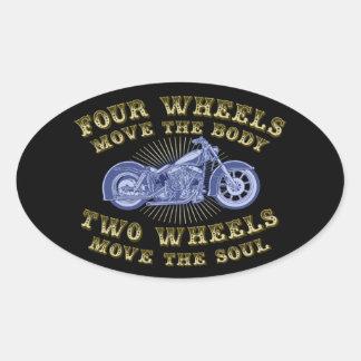 Four Wheels III Oval Sticker
