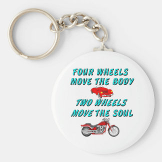 four wheels move the body basic round button keychain