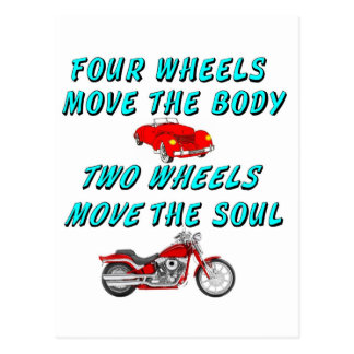 four wheels move the body postcard