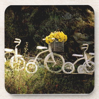 Four White Trikes Coaster