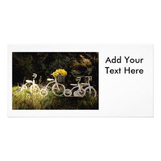 Four White Trikes Customized Photo Card