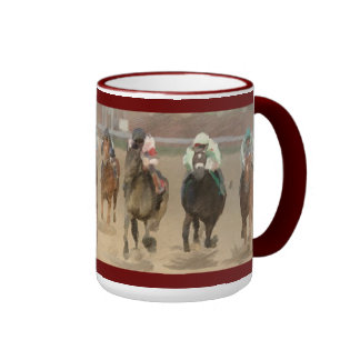 Four Wide In The Stretch Race Horse Coffee Mugs