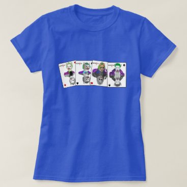 Halloween Themed Four Wild Card Clown Cats Playing Cards T-Shirt