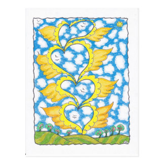 FOUR WINGED HEARTS by Ruth I. Rubin Post Card