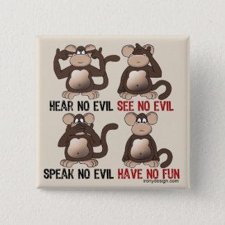 Four Wise Monkeys Humour Button