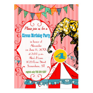 Four Year Old Circus Tent Elephant BirthdayParty Postcard