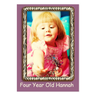 Four Year Old  Girl's Birthday Photo Cards Business Card Template