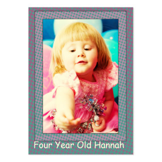 Four Year Old  Girl's Birthday Photo Cards Business Cards