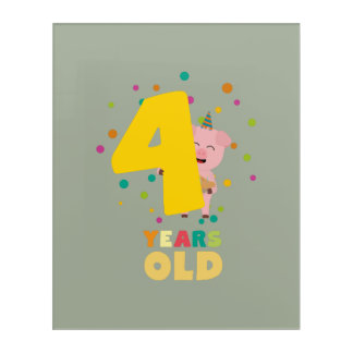 Four Years old fourth Birthday Party Zpkhc Acrylic Print