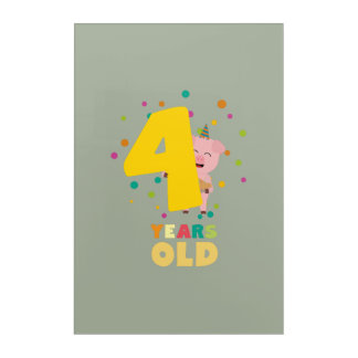 Four Years old fourth Birthday Party Zpkhc Acrylic Wall Art