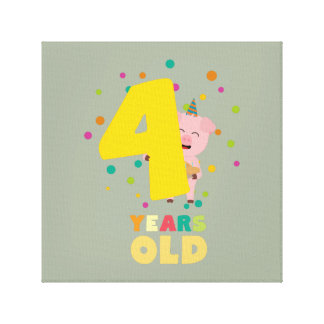 Four Years old fourth Birthday Party Zpkhc Canvas Print