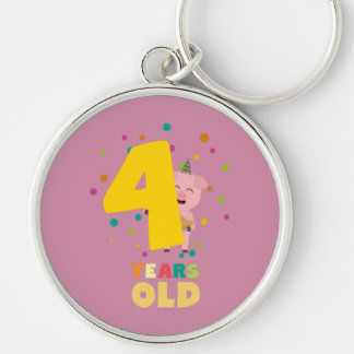 Four Years old fourth Birthday Party Zpkhc Keychain