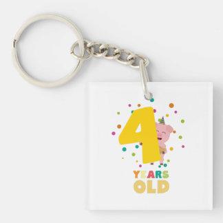 Four Years old fourth Birthday Party Zpkhc Keychain