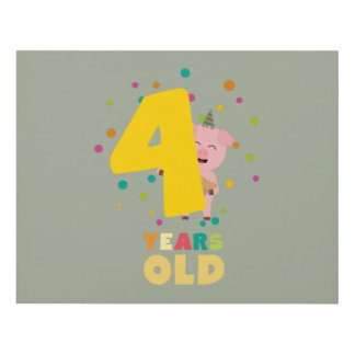 Four Years old fourth Birthday Party Zpkhc Panel Wall Art
