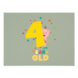 Four Years old fourth Birthday Party Zpkhc Photo Print