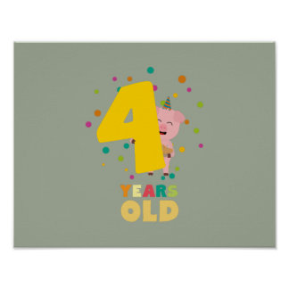 Four Years old fourth Birthday Party Zpkhc Poster