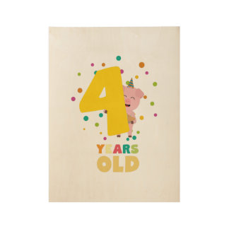 Four Years old fourth Birthday Party Zpkhc Wood Poster