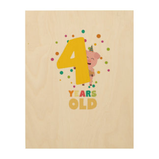 Four Years old fourth Birthday Party Zpkhc Wood Wall Art