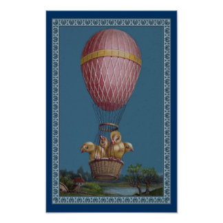 Four Yellow Chicks in Hot Air Balloon Poster