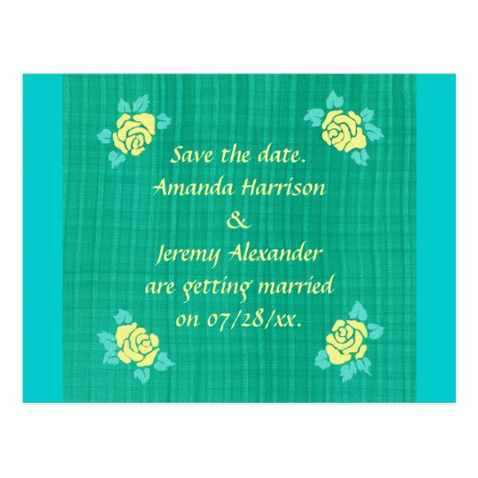 Four Yellow Roses Green Teal Plaid Save the date Postcard