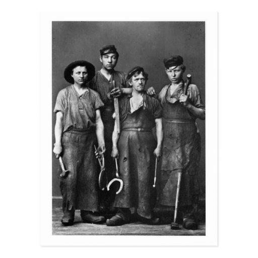 Four Young Blacksmiths - Vintage 1881 Photo Postcard