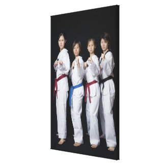 Four young women standing in punching position canvas print