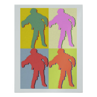Four Zombies Andy Warhol Style Personalized Invitation