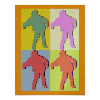 Four Zombies Style, Orange Border Card