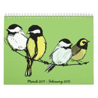 fourcalling-pájaros, marzo de 2011-febrero de 2012 calendarios