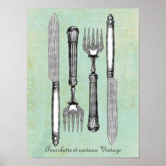 Fourchette et couteau Vintage Poster