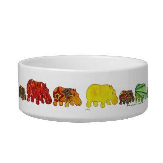 Fourteen Hippos Marching Pet Food Bowl